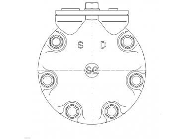Compresseur Sanden Fixe R134a SD7H13 TYPE : SD7H13   6453N3   585971 - 7300 - 7402095