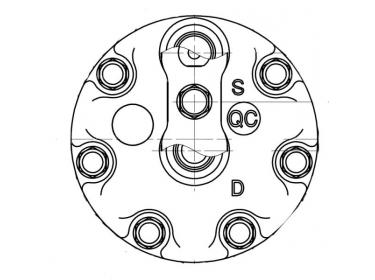 Compresseur Sanden Fixe R134a SD7H15 TYPE : SD7H15 | 3157920 - 3712528M2 - 3782613M2 | 20-07952 - 509-575 - 509-5753 - 509-612 - 78561 - 7952 - 8088 - CP031 - CP55561