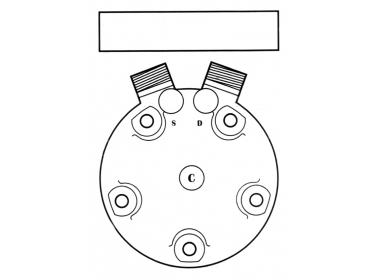 Compresseur Sanden Fixe R134a SD5H11 TYPE : SD5H11     1201581 - 20-06332 - 509-398 - 509-3983 - 5800053 - 6332 - C8807229A