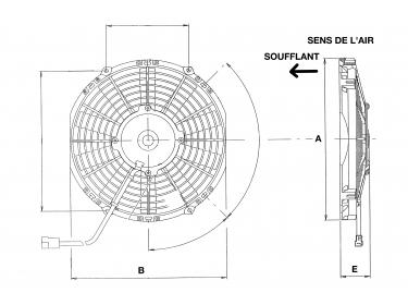 Ventilateur Soufflant 24V SPAL - Ø = 255 - EPAIS = 52 | | 1209026 - 30100369 - VA11-BP7/C-29S