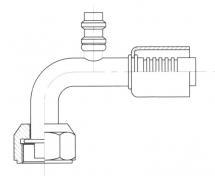 Raccord A sertir alu flexible standard 90° FEMELLE ORING PP R134a