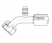 Raccord A sertir alu flexible standard 45° FEMELLE ORING PP R134a