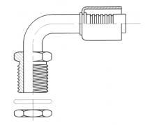 Raccord A sertir alu flexible standard 90° MALE ORING PASSE CLOISON