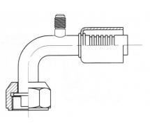 Raccord A sertir acier diamètre réduit 90° FEMELLE ORING PP 1/4 SAE