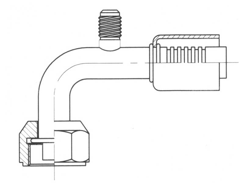 Raccord A sertir alu flexible standard 90° FEMELLE ORING PP R12 M6