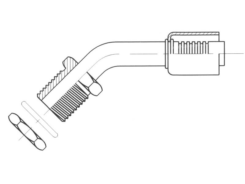 Raccord A sertir acier flexible standard 45° MALE ORING PASSE CLOISON