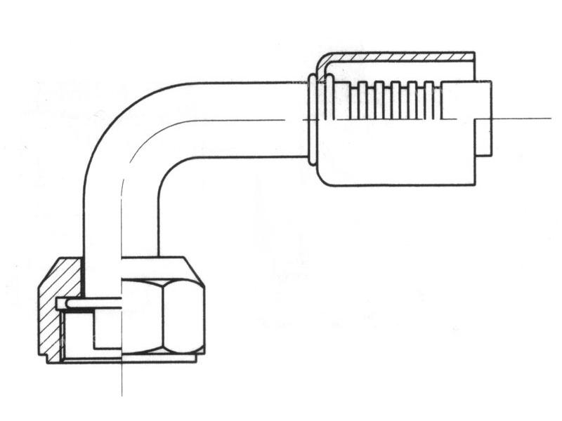 Raccord A sertir acier diamètre réduit 90° FEMELLE ORING LONG