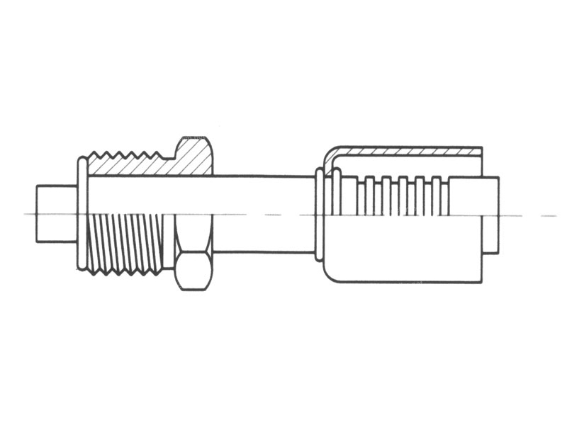 Raccord A sertir acier diamètre réduit Droit MALE ORING