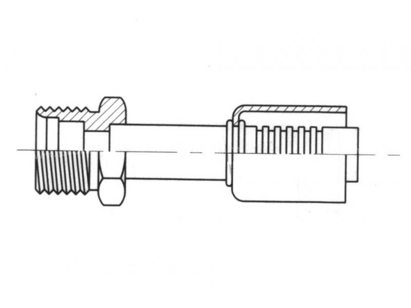 Raccord A sertir acier diamètre réduit Droit MALE ORING INSERT FEMELLE