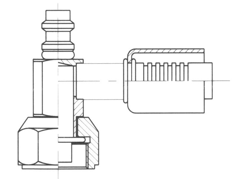 Raccord A sertir acier flexible standard 90° FEMELLE ORING PP R134a COURT