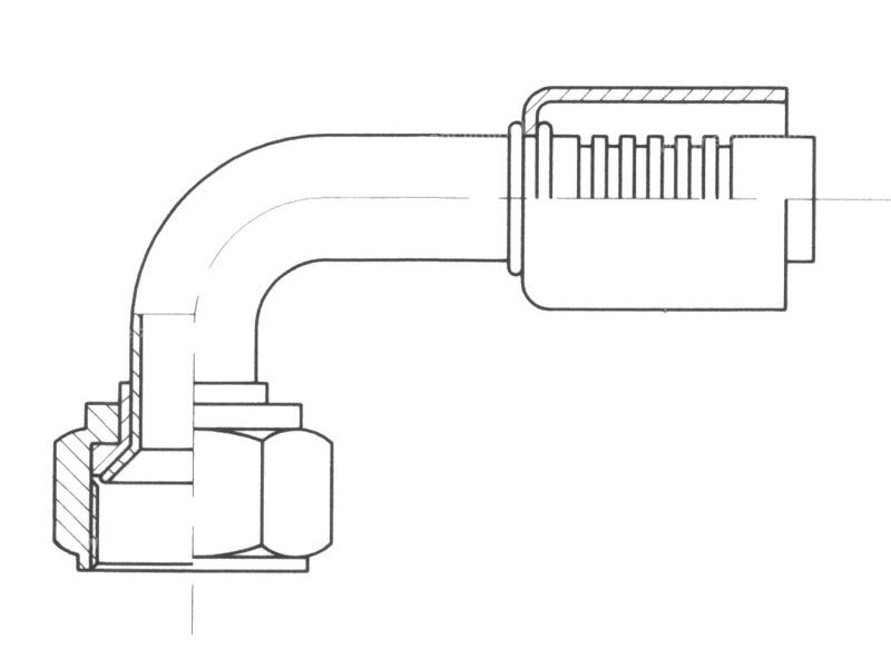 Raccord A sertir acier flexible standard 90° FEMELLE FLARE
