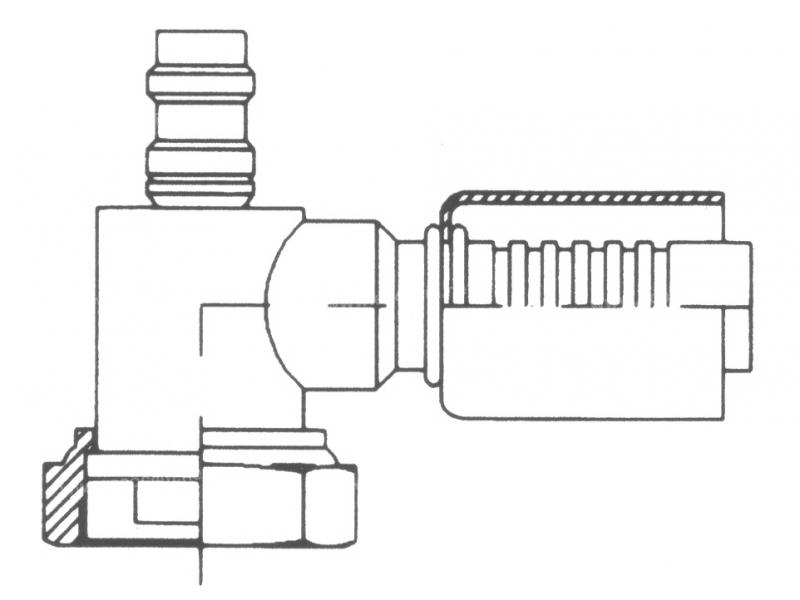 Raccord A sertir acier diamètre réduit 90° FEMELLE ORING 1'' PP R134a
