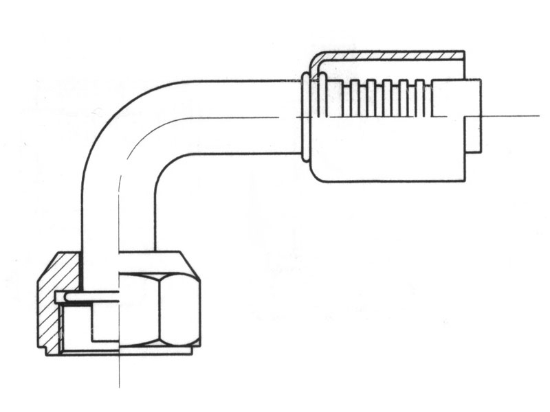 Raccord A sertir acier flexible standard 90° FEMELLE ORING LONG