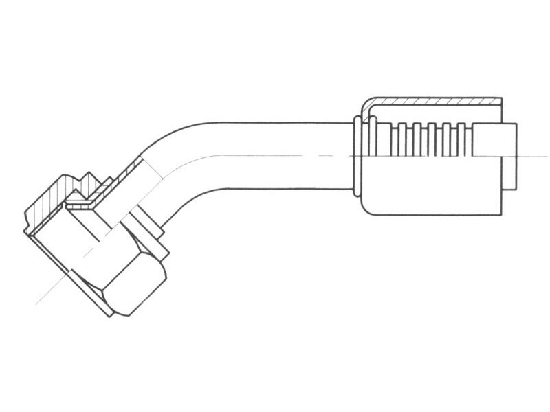 Raccord A sertir alu flexible standard 45° FEMELLE FLARE