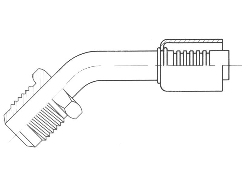Raccord A sertir alu flexible standard 45° MALE FLARE