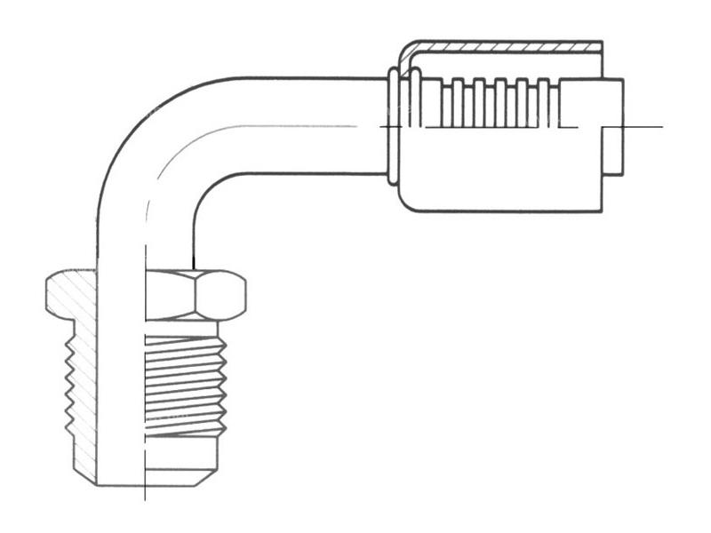 Raccord A sertir alu flexible standard 90° MALE FLARE