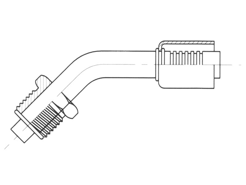 Raccord A sertir alu flexible standard 45° MALE ORING