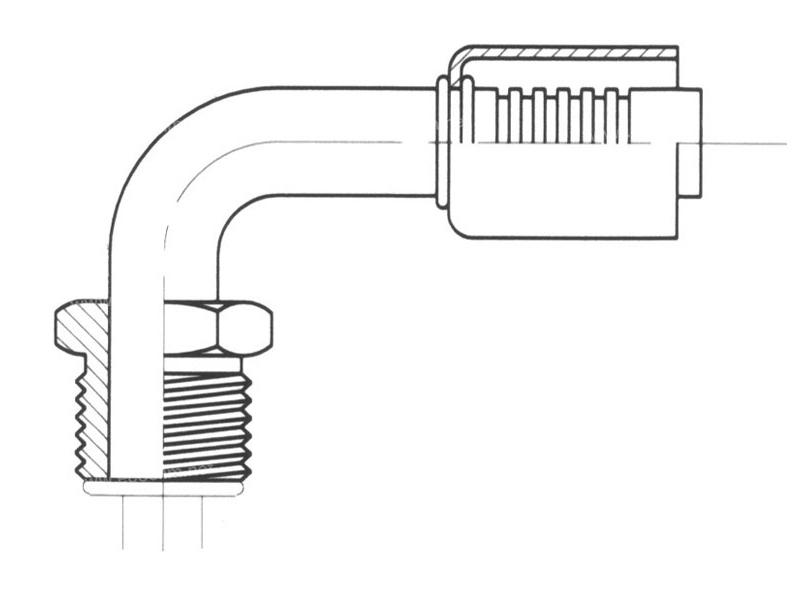 Raccord A sertir alu flexible standard 90° MALE ORING