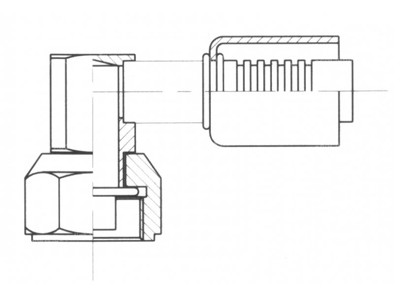 Raccord A sertir acier diamètre réduit 90° FEMELLE ORING COURT