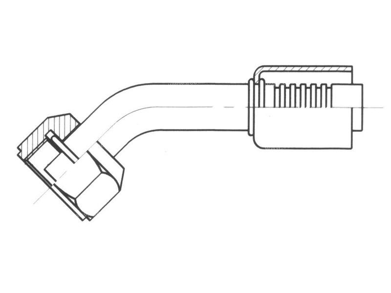 Raccord A sertir acier diamètre réduit 45° FEMELLE ORING