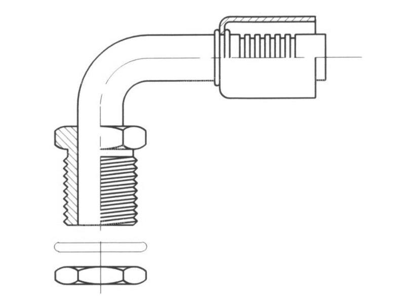 Raccord A sertir acier diamètre réduit 90° MALE ORING PASSE CLOISON