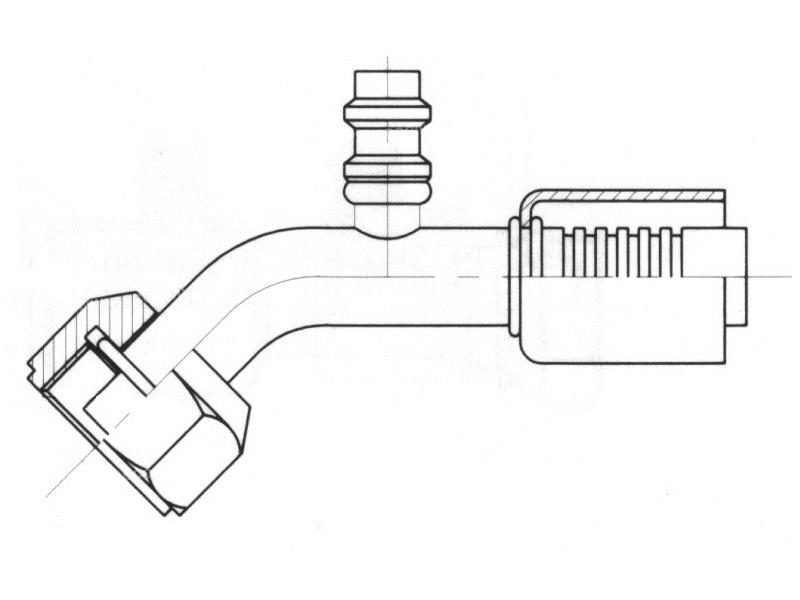 Raccord A sertir acier diamètre réduit 45° FEMELLE ORING 1'' + PP R134a