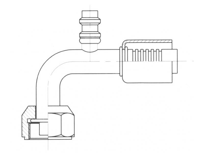 Raccord A sertir acier diamètre réduit 90° FEMELLE ORING PP R134a