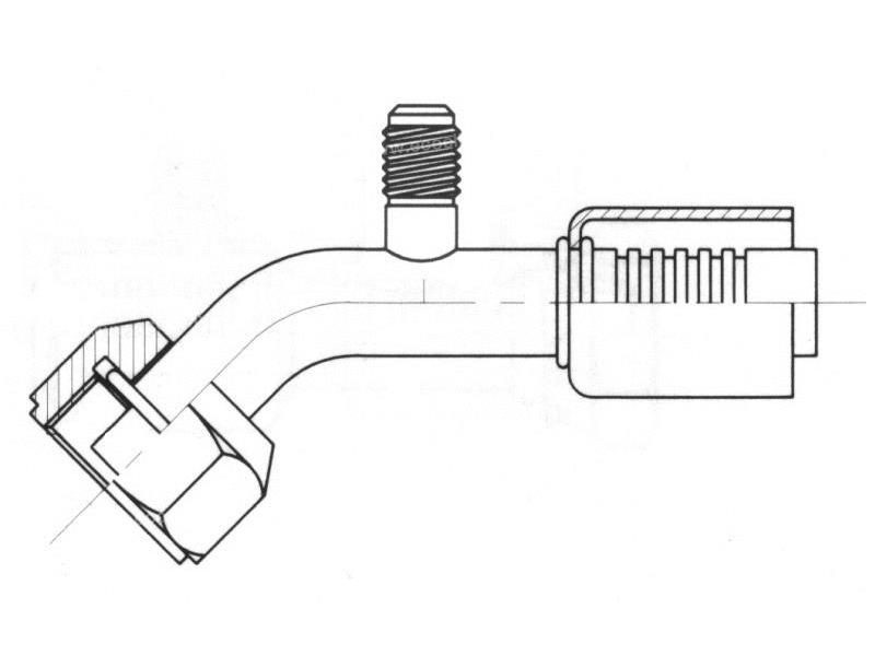 Raccord A sertir acier flexible standard 45° FEMELLE ORING PP 1/4 SAE