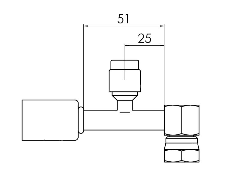 Raccord A sertir acier flexible standard 90° FEMELLE ORING PP R134a LONG