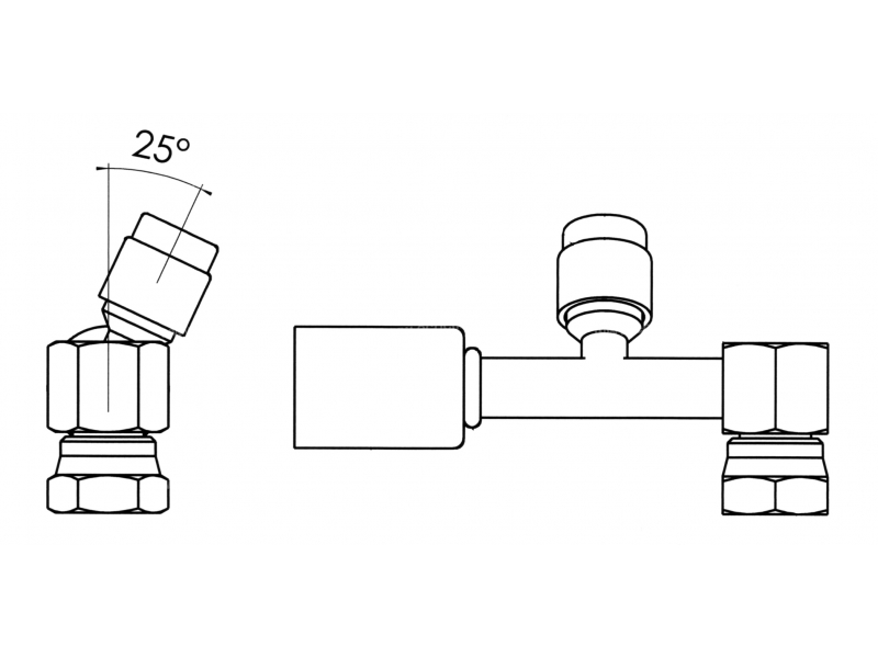 Raccord A sertir acier flexible standard 90° FEMELLE ORING PP R134a