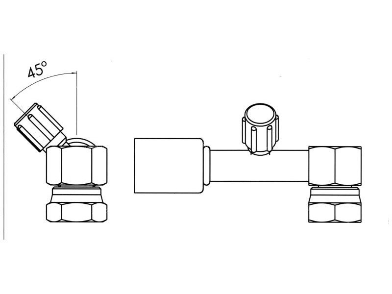 Raccord A sertir acier flexible standard 90° FEMELLE ORING 1'' + PP R134a