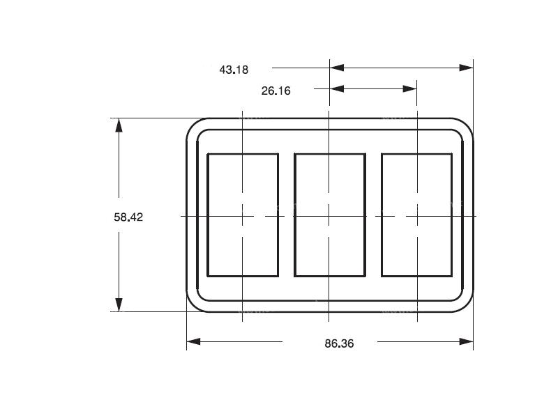 Composant électrique Interrupteur Carling Technologies BLOC 3 INTERRUPTEURS CONTURA 5 |  |
